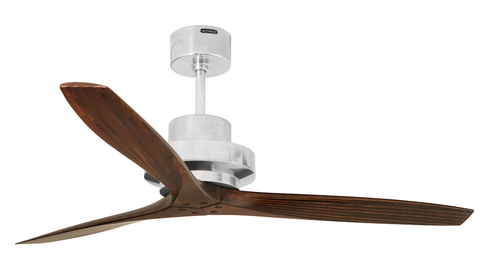 Spitfire designer ceiling fan with propeller blade made from solid wood motor in polished aluminum elegant modern designer ceiling fan